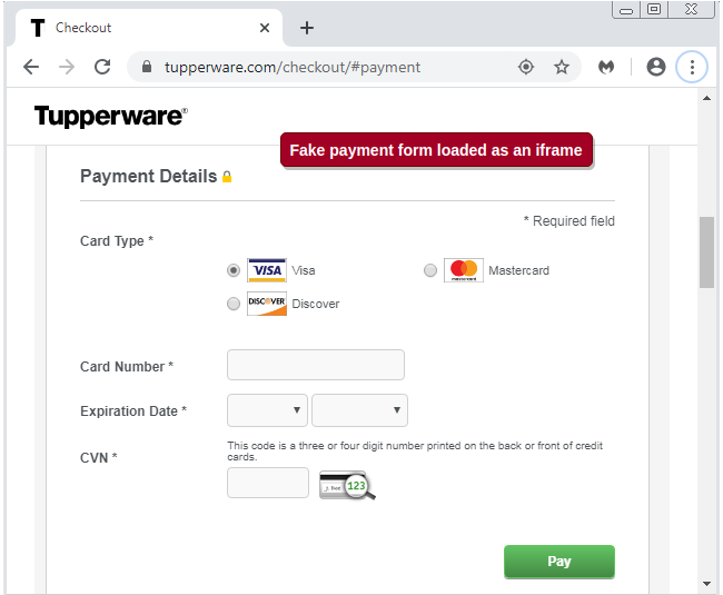 Phishing page on Tupperware website